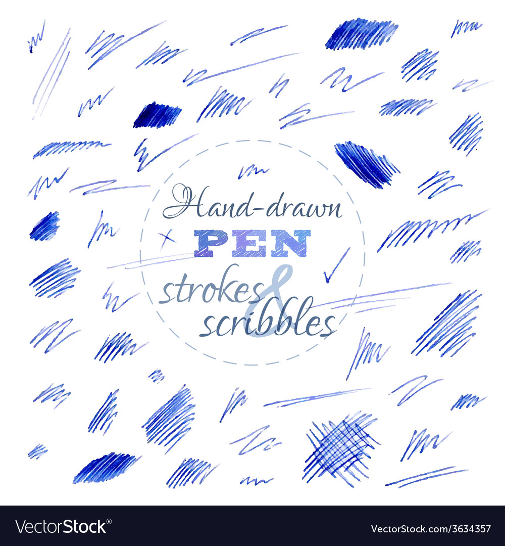 Set of hand-drawn pen strokes and scribbles vector | Price: 1 Credit (USD $1)