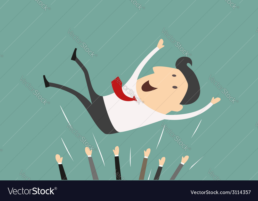 Successful businessman being thrown in the air vector | Price: 1 Credit (USD $1)