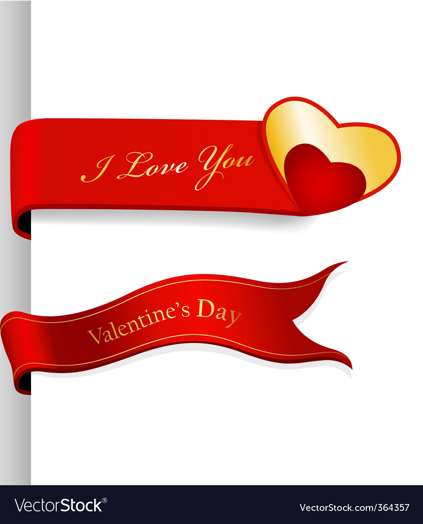 Valentines day ribbons vector | Price: 1 Credit (USD $1)