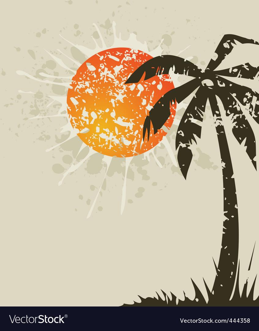 Beach retro a card vector