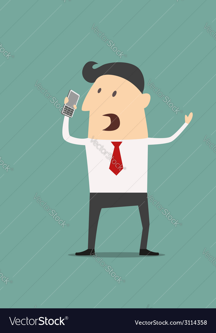 Cartoon businessman using a mobile phone vector | Price: 1 Credit (USD $1)