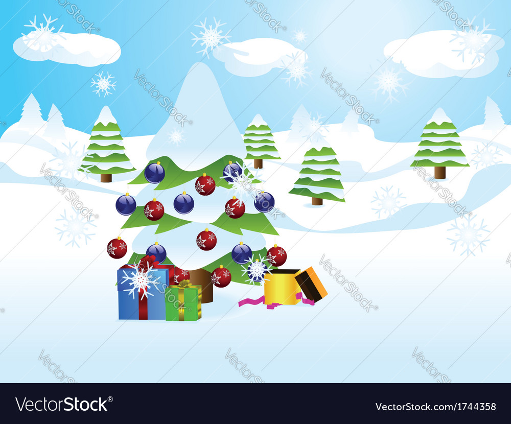 Christmas tree landscape vector | Price: 1 Credit (USD $1)