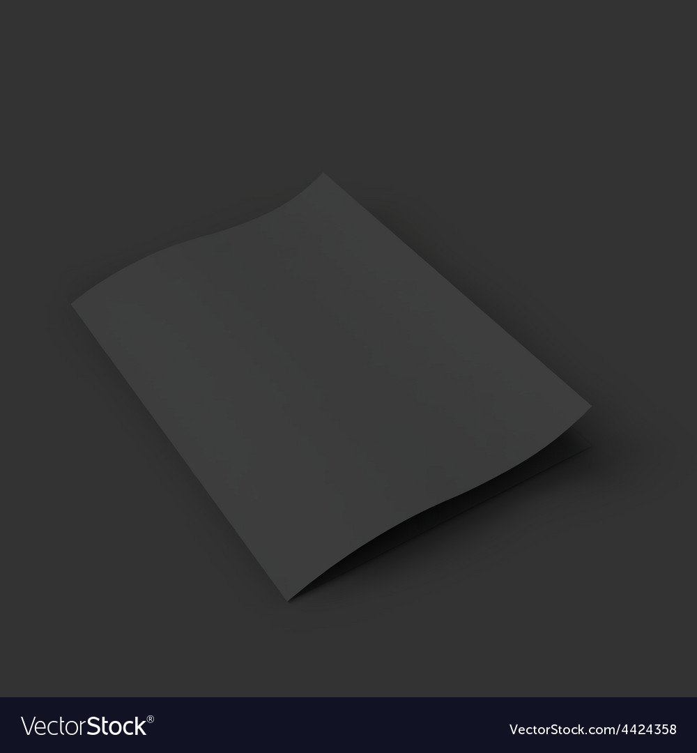 Closed black booklet with a curved leaf business vector   Price: 1 Credit (USD $1)