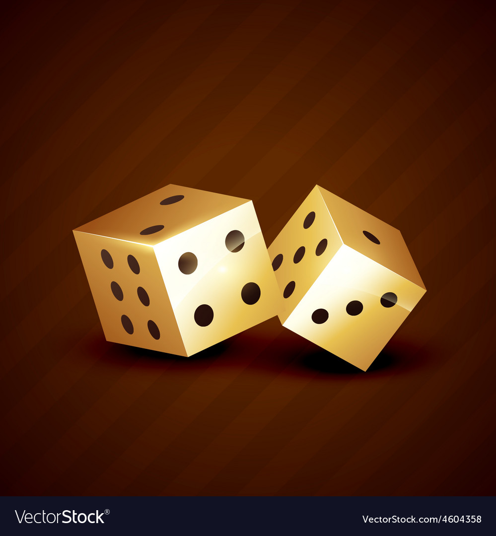 Golden dice spinning design vector   Price: 1 Credit (USD $1)