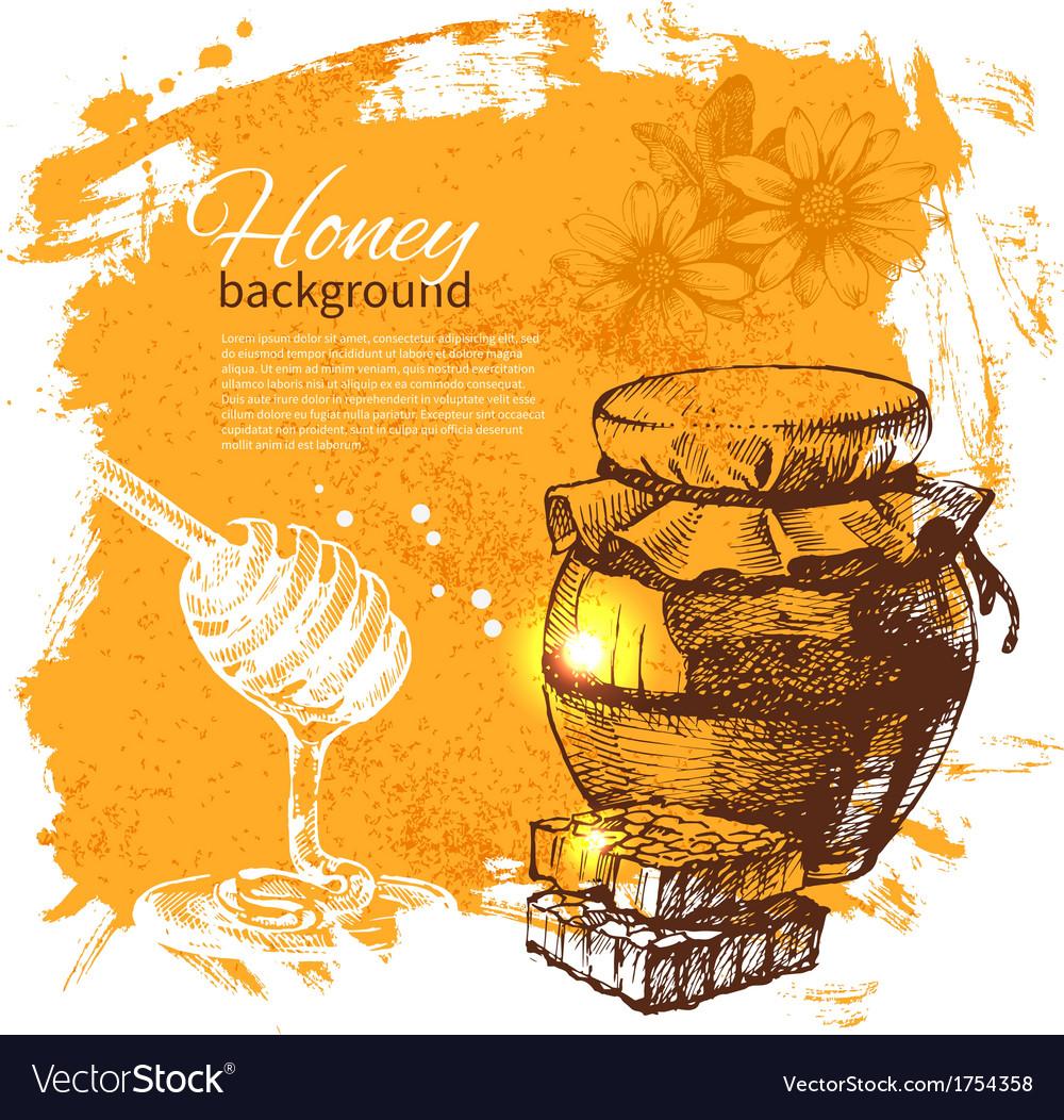 Hand drawn sketch honey background vector | Price: 1 Credit (USD $1)