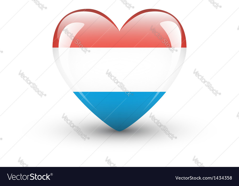 Heart-shaped icon with national flag of luxembourg vector | Price: 1 Credit (USD $1)