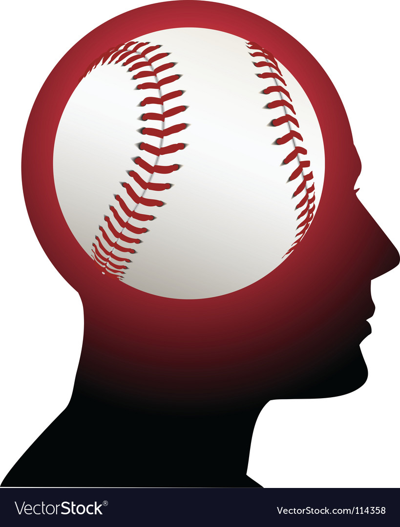 Man with baseball brain vector | Price: 1 Credit (USD $1)