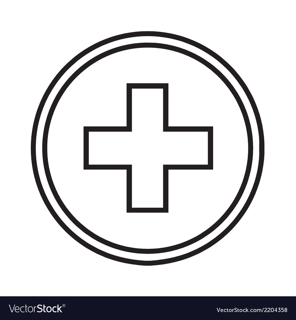Medical symbol circle with a cross vector | Price: 1 Credit (USD $1)