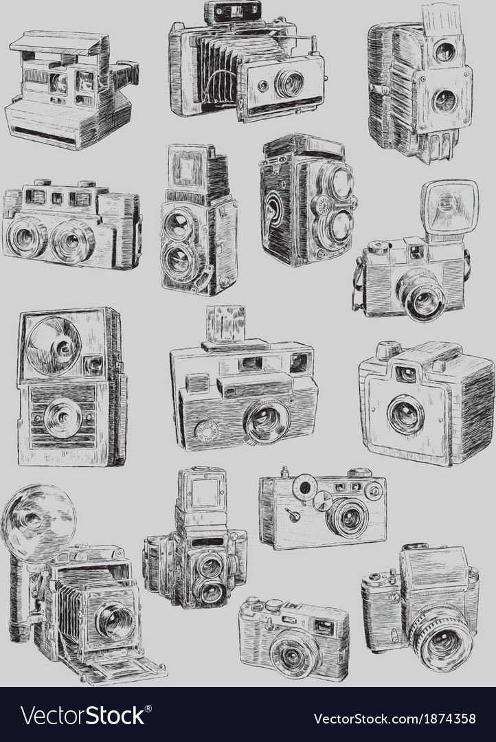 Sketchy vintage camera set vector | Price: 1 Credit (USD $1)