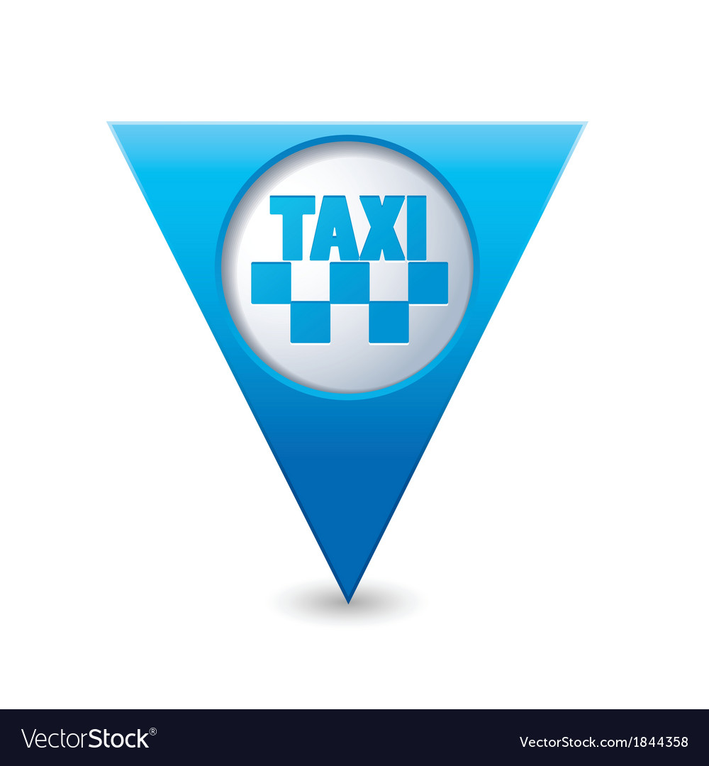 Taxi icon map pointer3 blue vector | Price: 1 Credit (USD $1)