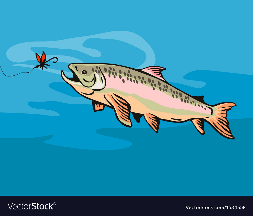 Trout fish with bait vector | Price: 1 Credit (USD $1)