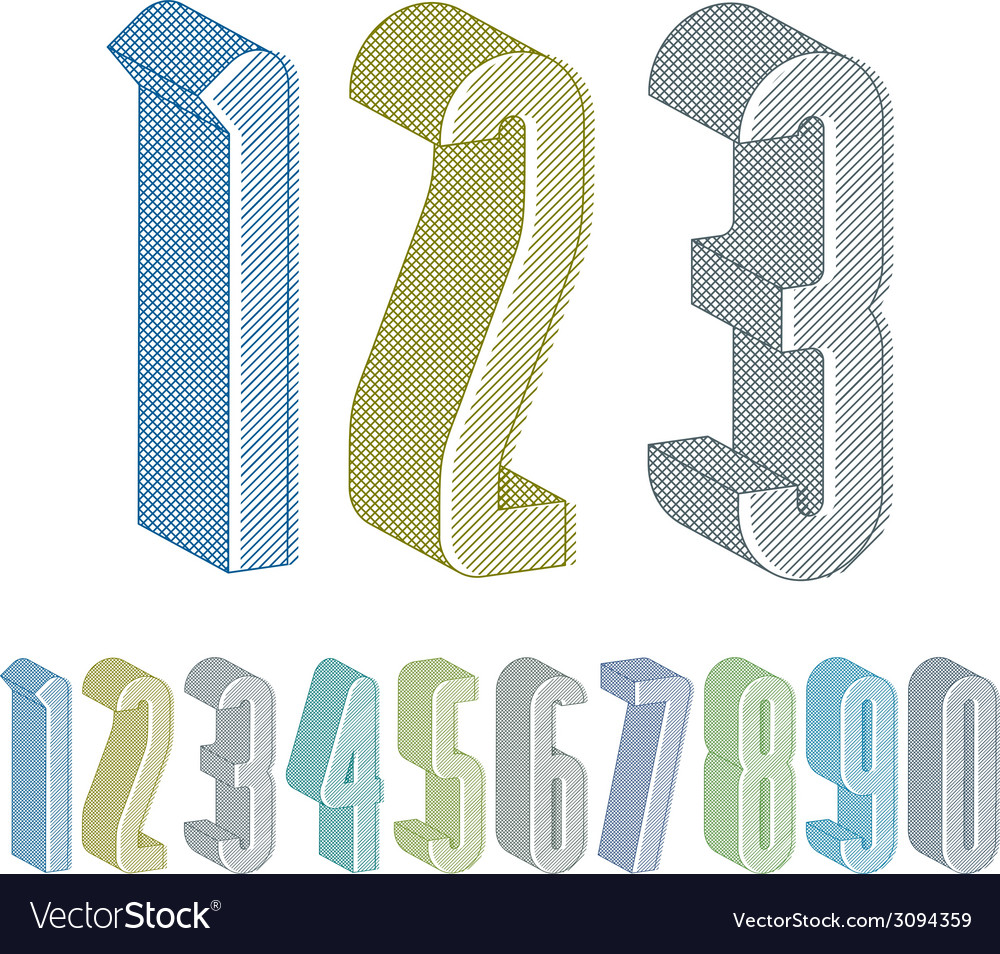 3d extra tall numbers set with lines textures vector | Price: 1 Credit (USD $1)