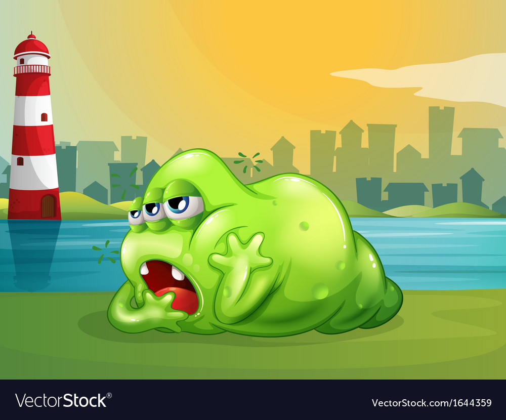 A fat green monster across the lighthouse vector | Price: 3 Credit (USD $3)