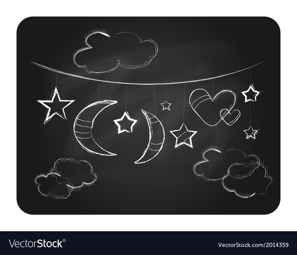 Black chalkboard with white clouds moon and stars vector | Price: 1 Credit (USD $1)