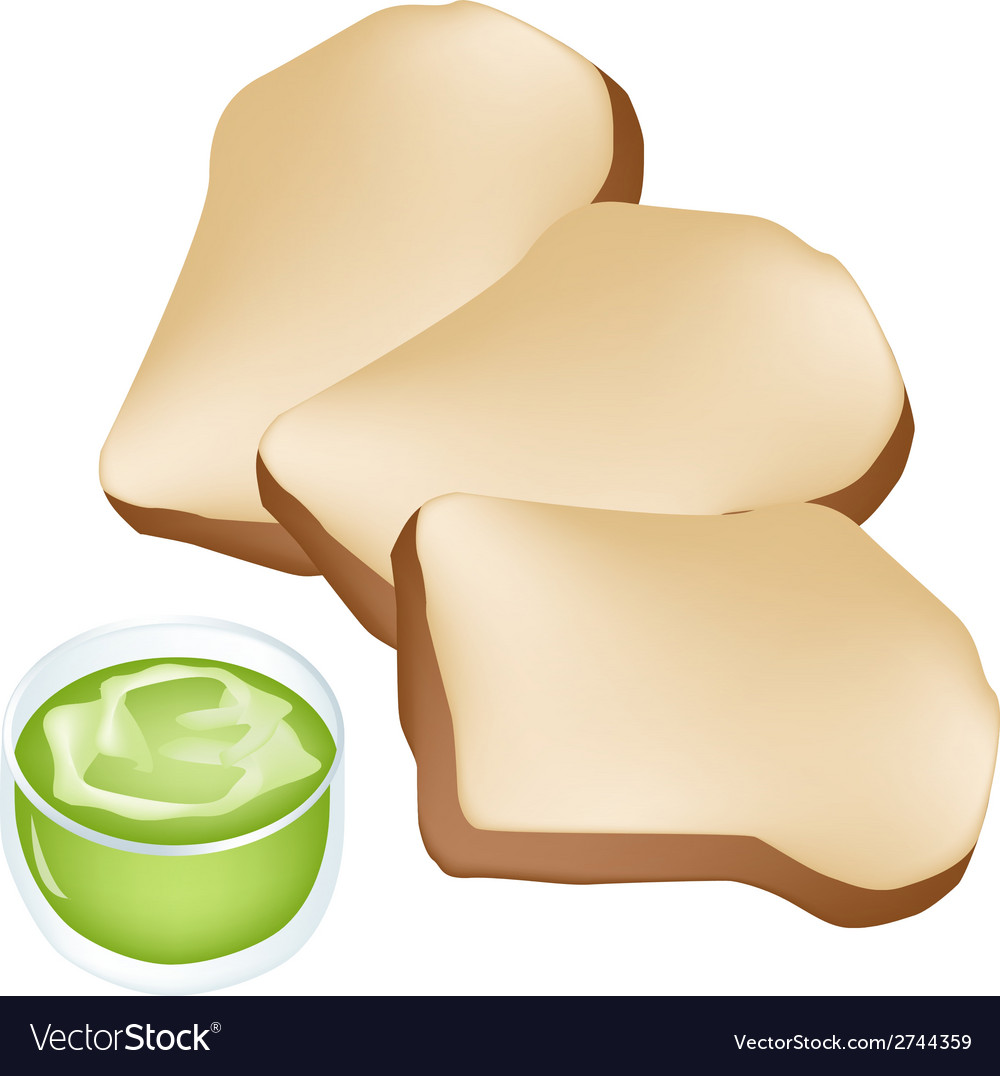 Cut loaf of bread with cup of coconut cream vector | Price: 1 Credit (USD $1)