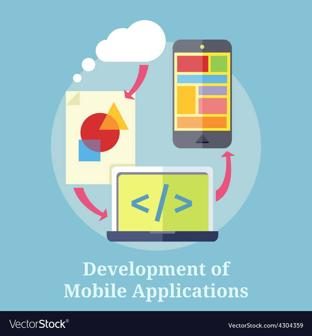 Development of mobile applications vector | Price: 1 Credit (USD $1)