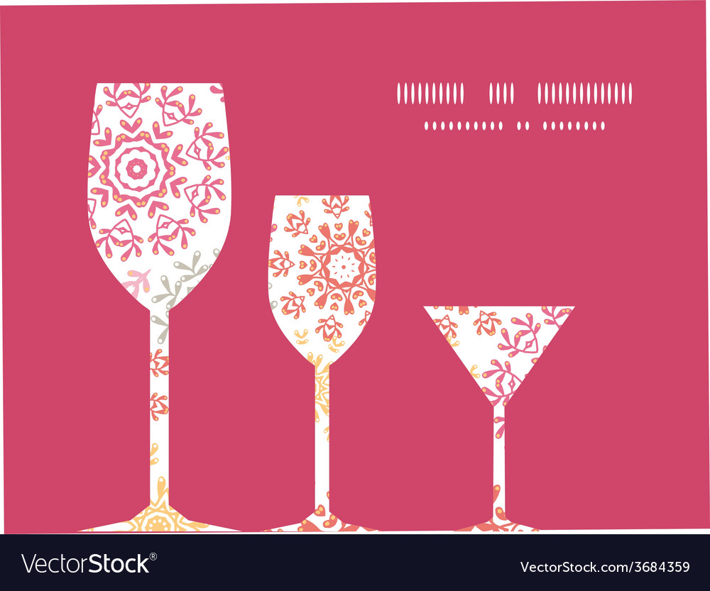 Folk floral circles abstract three wine glasses vector | Price: 1 Credit (USD $1)