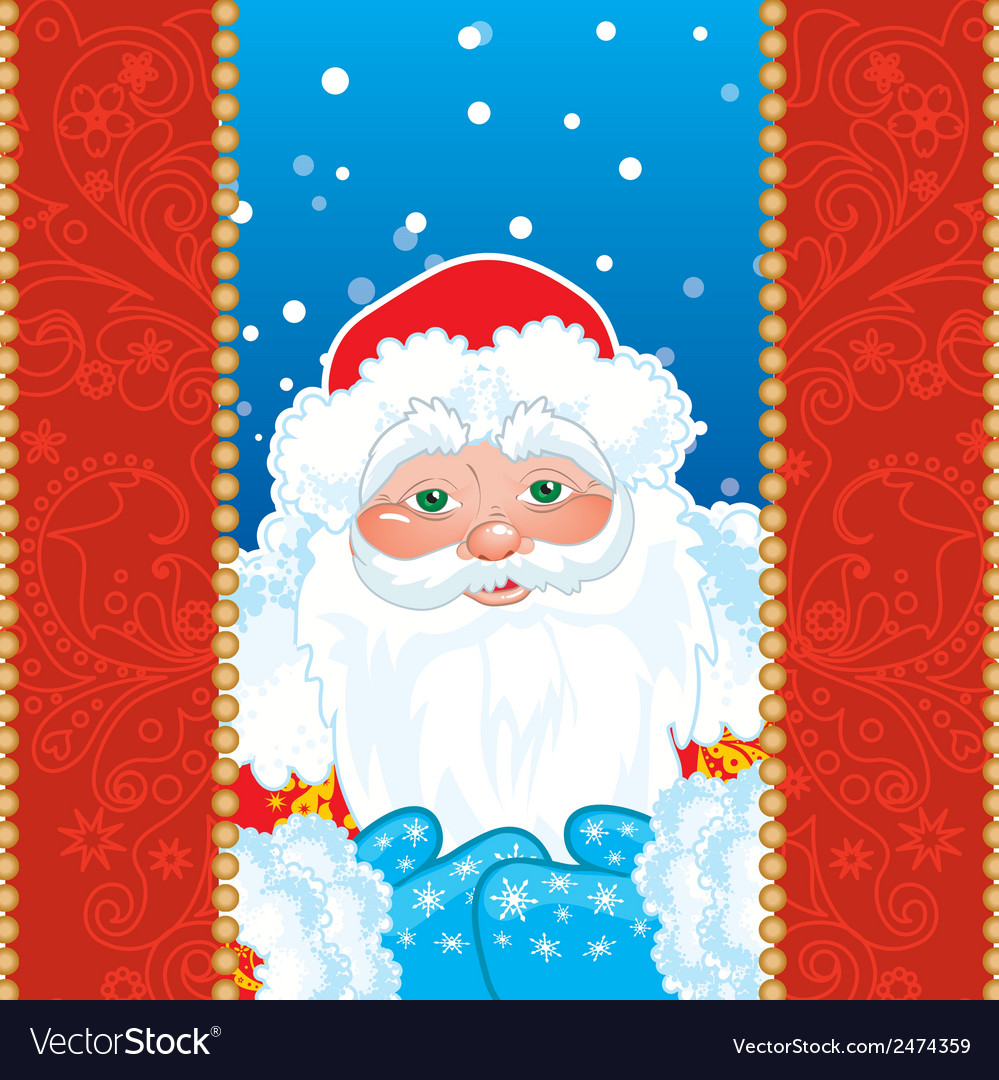 Grandfather frost santa claus in red frame with vector | Price: 1 Credit (USD $1)