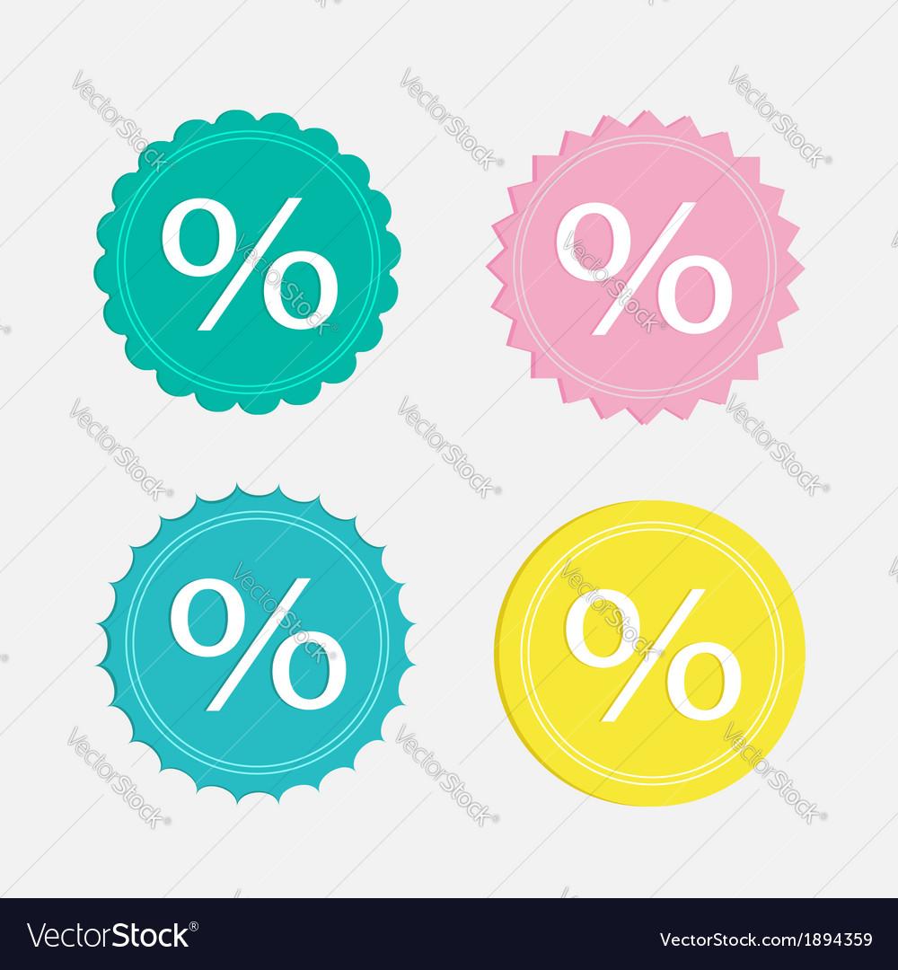 Label sale percent set flat design vector | Price: 1 Credit (USD $1)