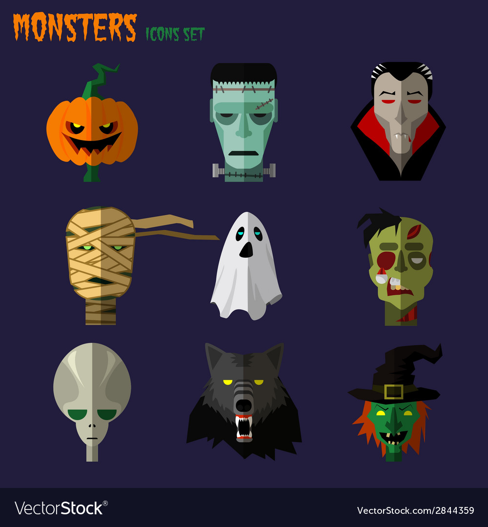 Monsters set of icons vector | Price: 1 Credit (USD $1)