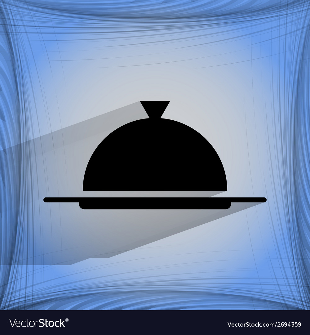 Restaurant cloche flat modern web buttonon a flat vector | Price: 1 Credit (USD $1)