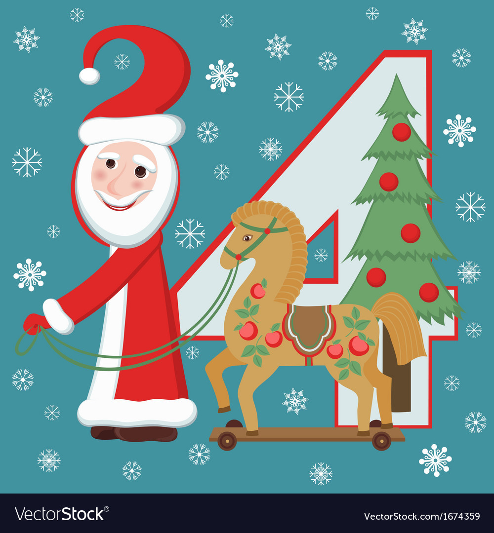 Santa claus and wooden horse vector | Price: 1 Credit (USD $1)
