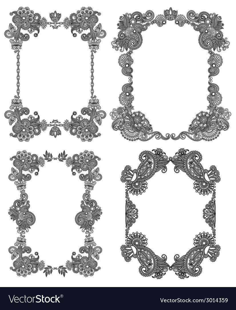 Set of calligraphic design vintage frame black vector | Price: 1 Credit (USD $1)