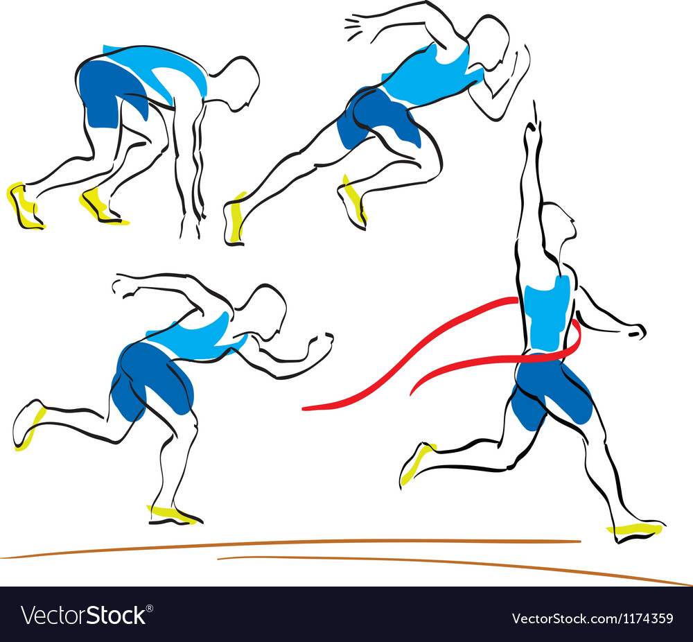 Set of running man crossing the finishing line vector | Price: 1 Credit (USD $1)