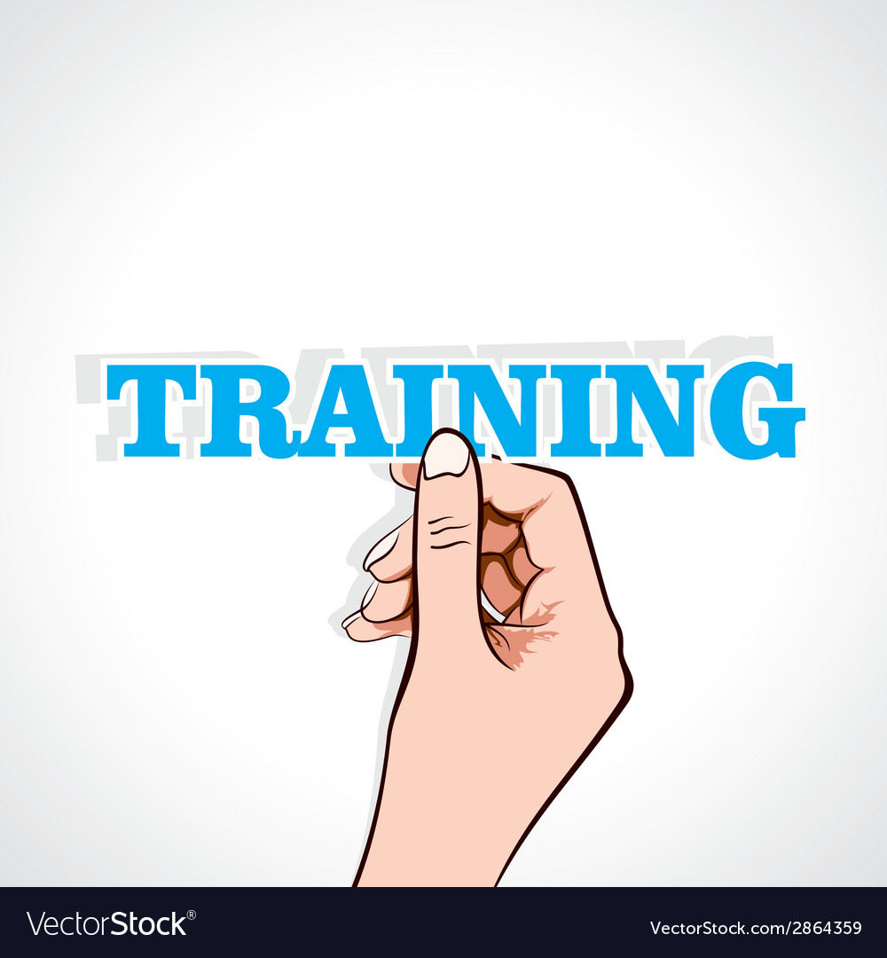 Training word sticker in hand vector | Price: 1 Credit (USD $1)
