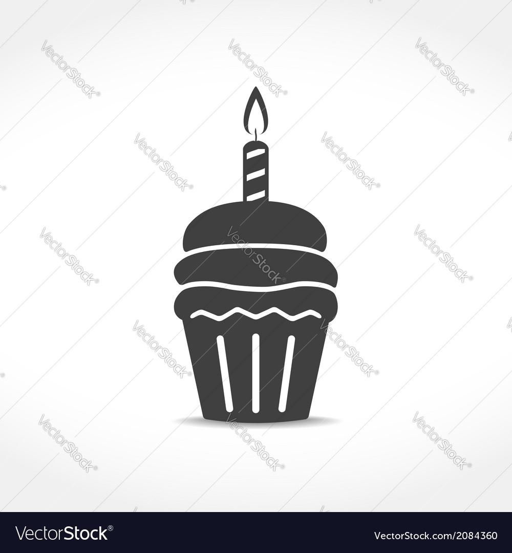 Birthday cupcake icon vector   Price: 1 Credit (USD $1)