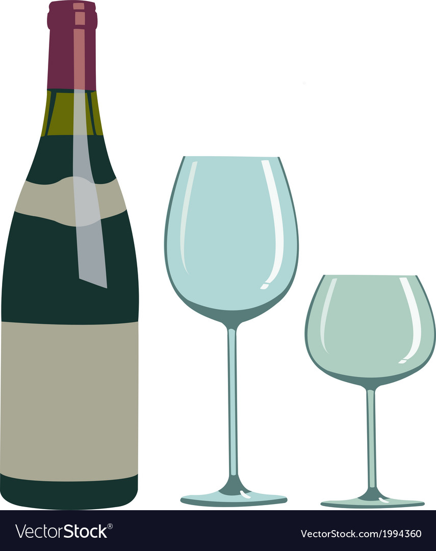 Bottle of wine and two glasses vector | Price: 1 Credit (USD $1)