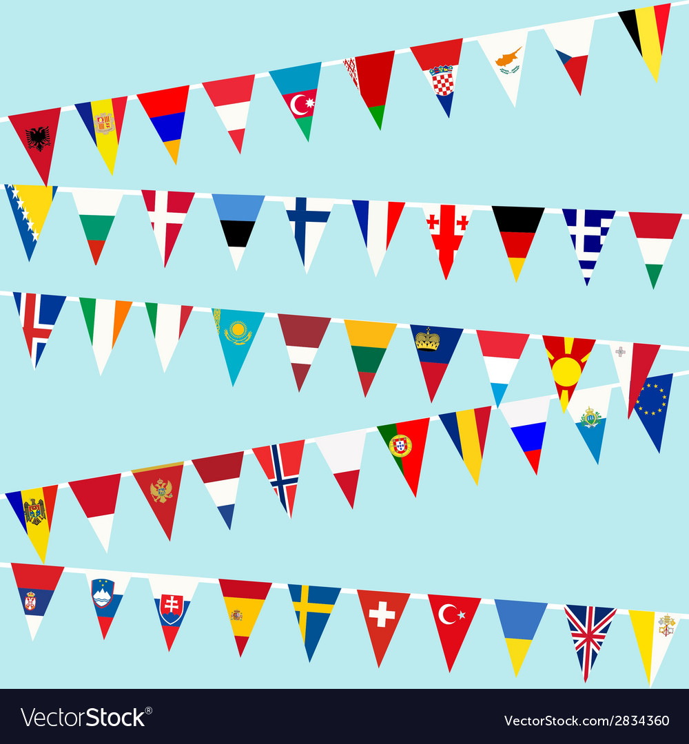 Bunting european union flags vector