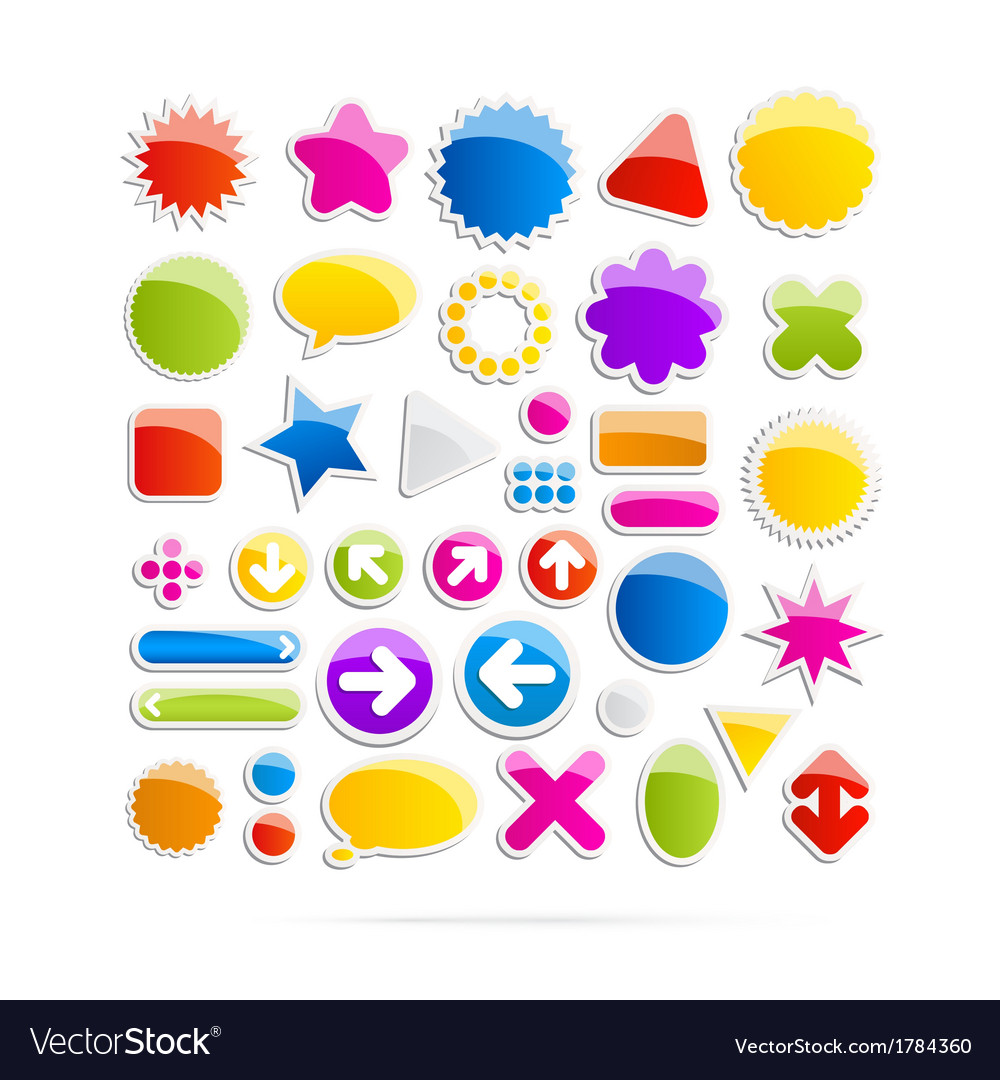 Colorful web shapes icons vector | Price: 1 Credit (USD $1)