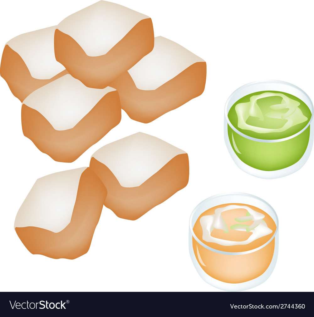 Cut loaf of bread with custard cream vector | Price: 1 Credit (USD $1)