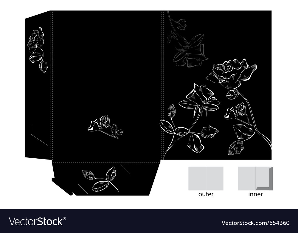 Folder with white rose flowers vector | Price: 1 Credit (USD $1)