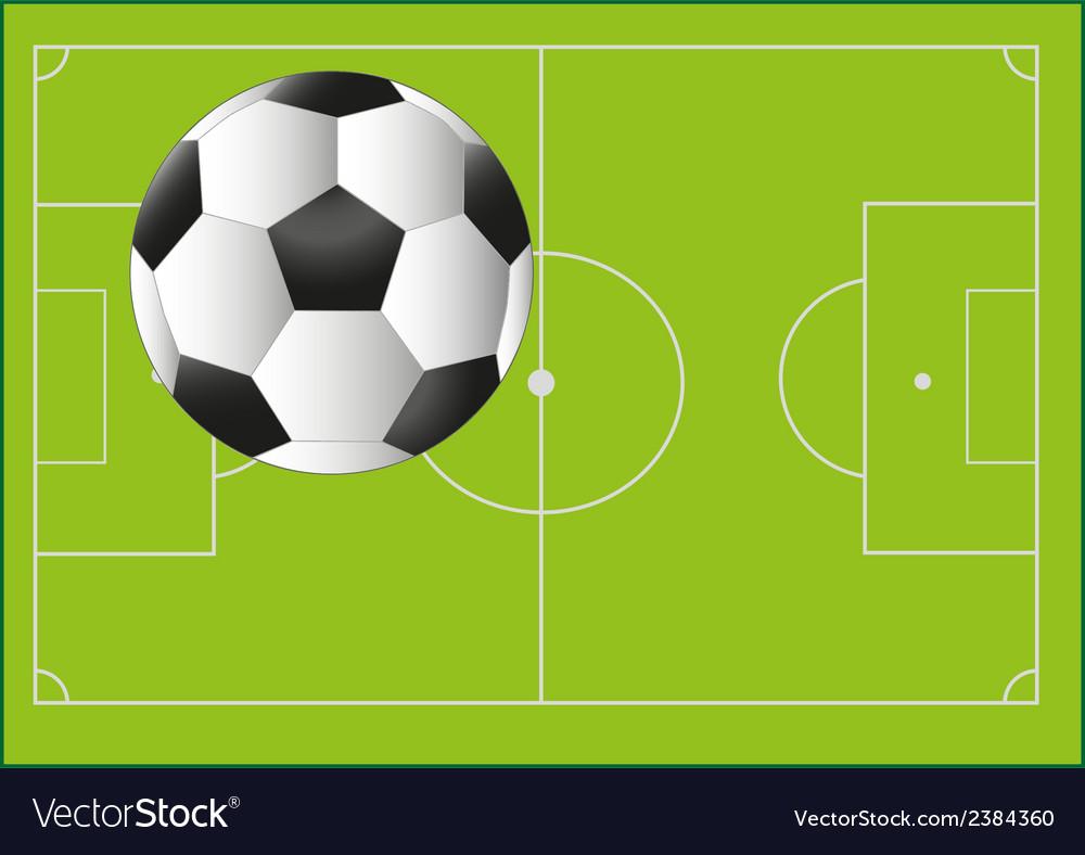 Football ball on the background with pitch vector | Price: 1 Credit (USD $1)