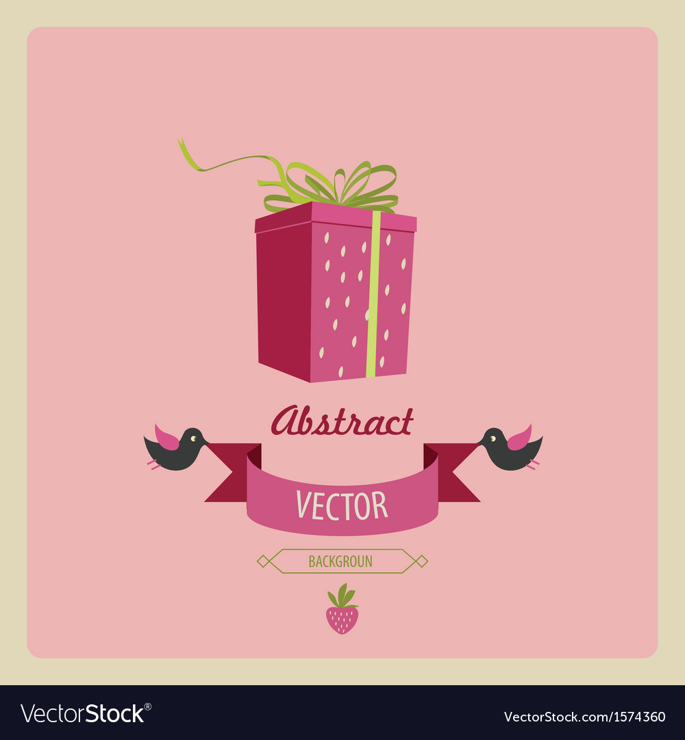 Greeting card with a bird and a gift vector | Price: 1 Credit (USD $1)