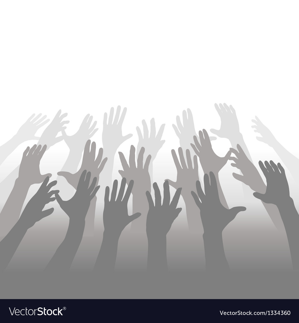 Hands of crowd of people reach for copyspace vector | Price: 1 Credit (USD $1)