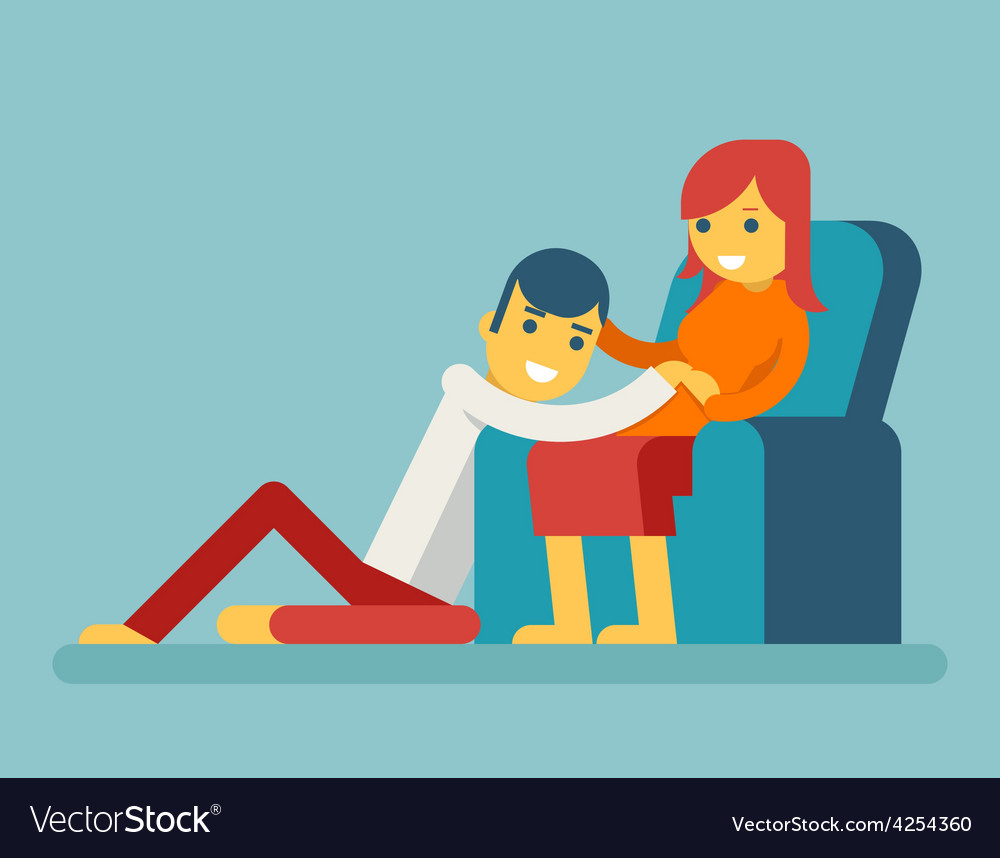 Happy family husband and pregnant wife sitting on vector | Price: 1 Credit (USD $1)