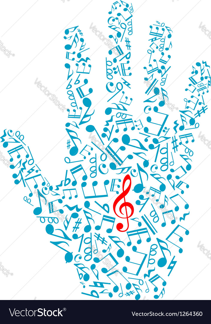 Human hand with musical notes and elements vector | Price: 1 Credit (USD $1)