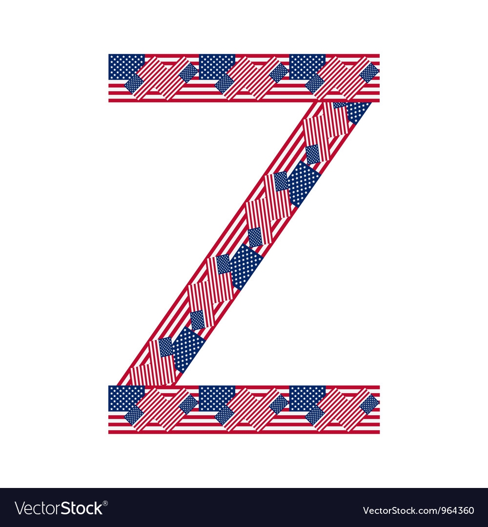 Letter z made of usa flags vector | Price: 1 Credit (USD $1)