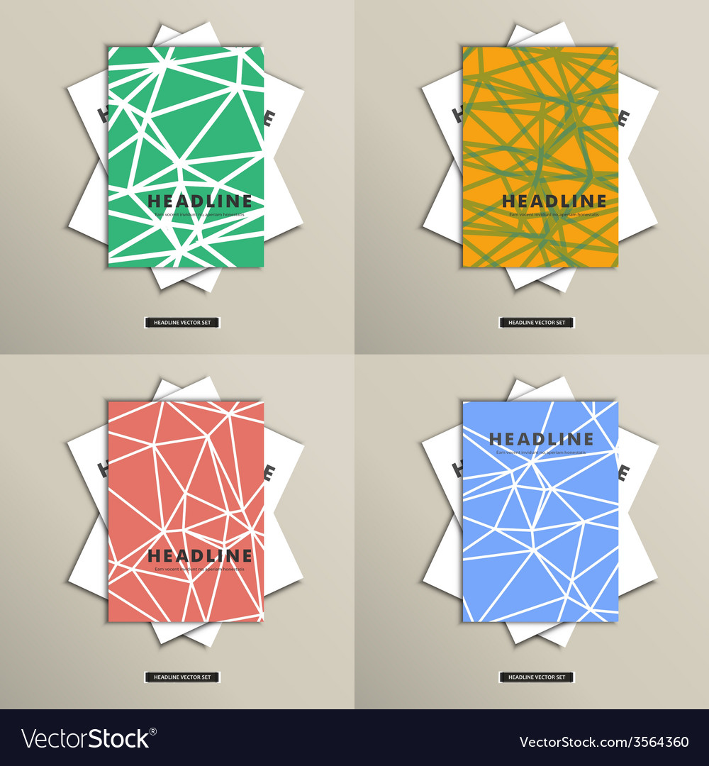 Set brochures with background triangles on cover vector | Price: 1 Credit (USD $1)