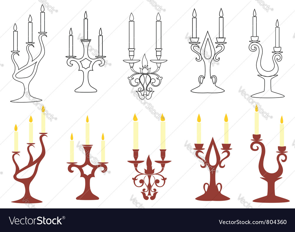 Set of black and brown candelabras vector | Price: 1 Credit (USD $1)