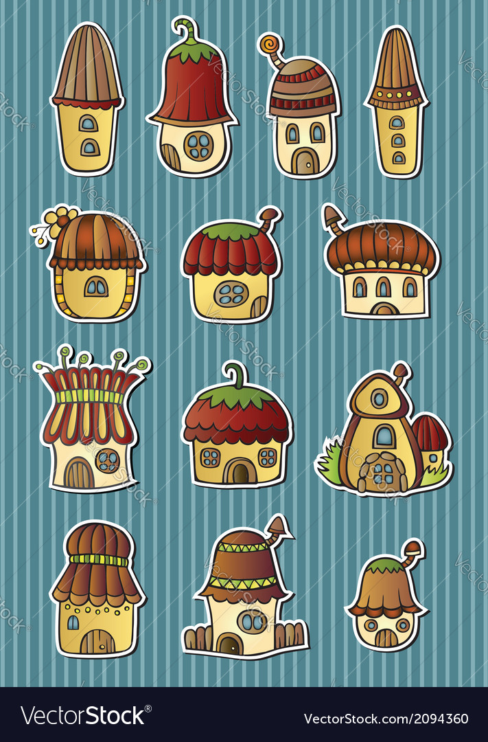 Set of cartoon fairytale houses vector | Price: 1 Credit (USD $1)
