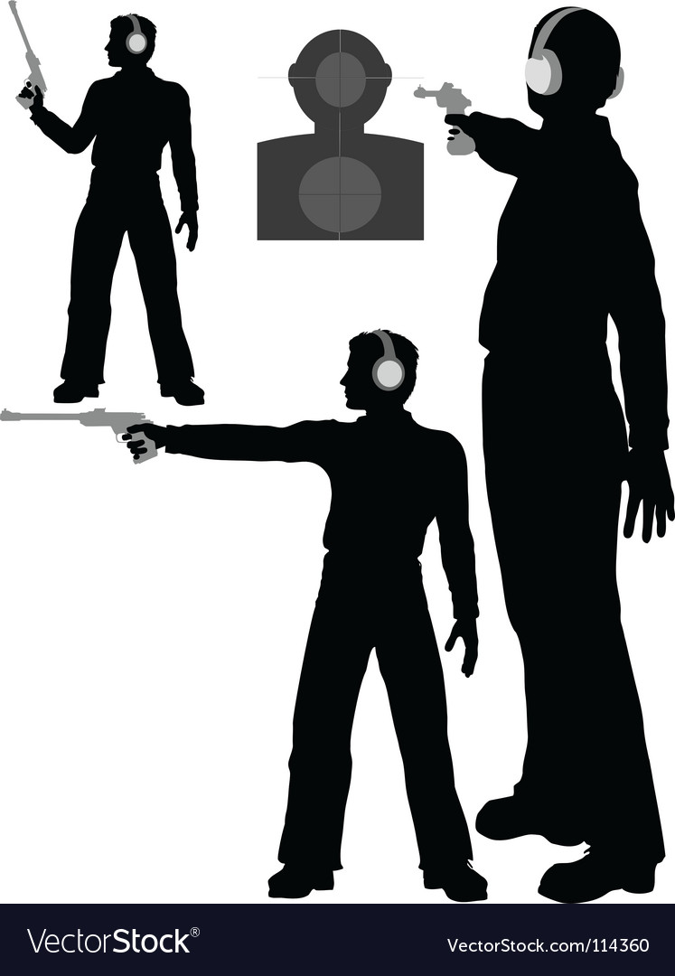 Silhouette man shoots target vector | Price: 1 Credit (USD $1)