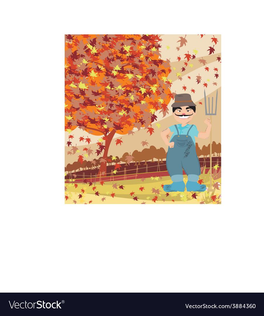 Smiling redneck in autumn landscape vector | Price: 1 Credit (USD $1)