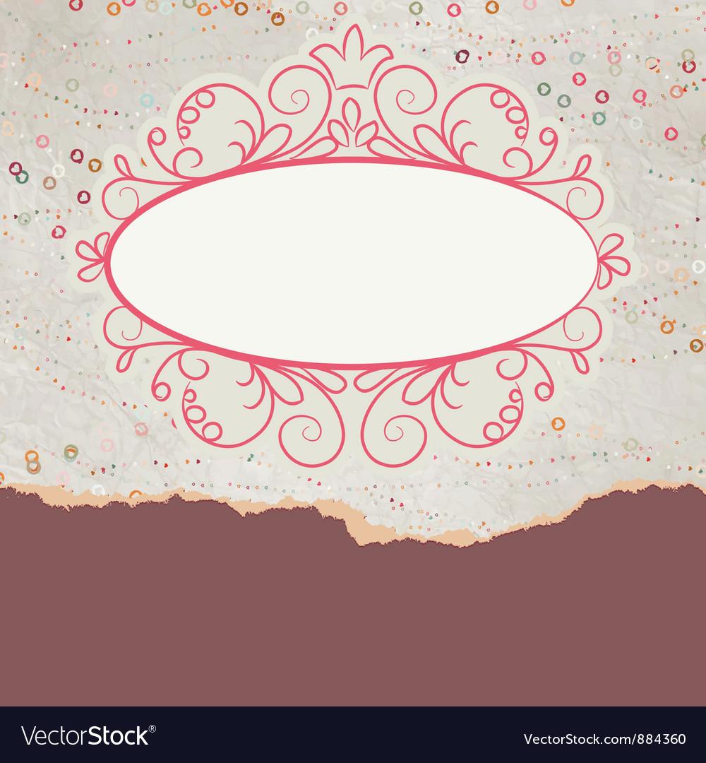 Vintage floral lace card vector