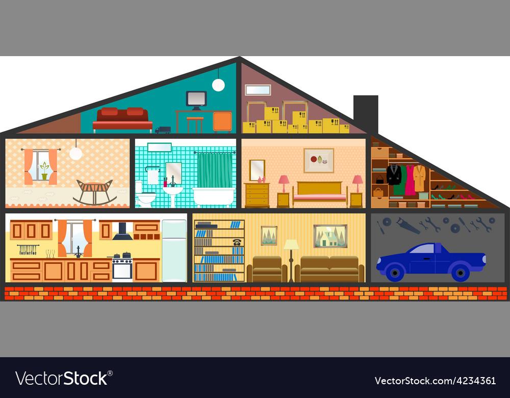 Cartoon family house vector | Price: 1 Credit (USD $1)