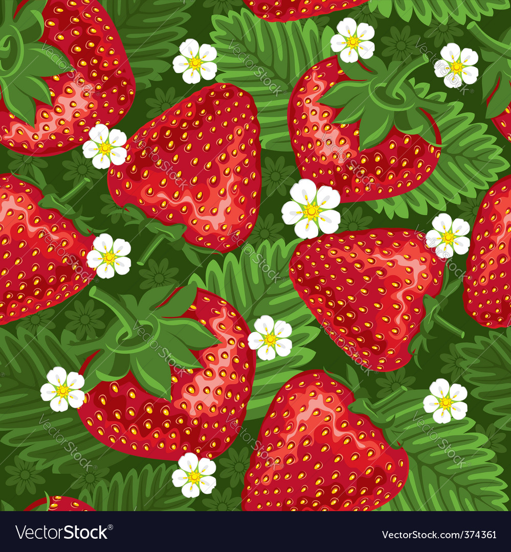 Excellent seamless pattern with strawberry vector | Price: 3 Credit (USD $3)