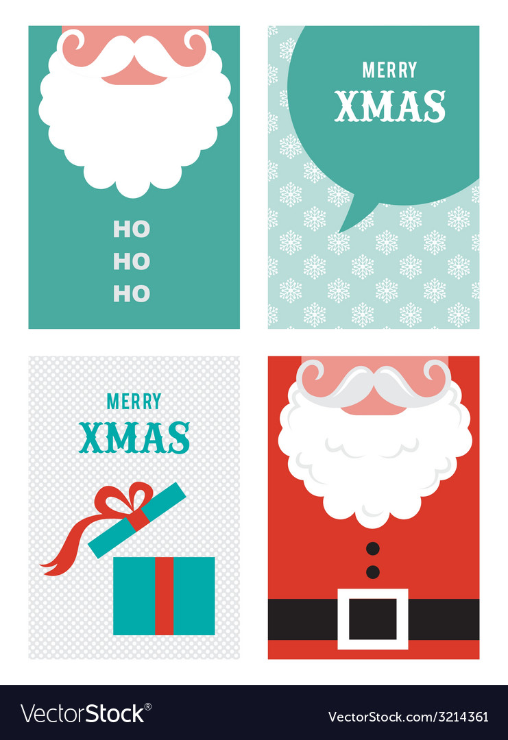 Four retro cards for christmas in hipster style vector | Price: 1 Credit (USD $1)